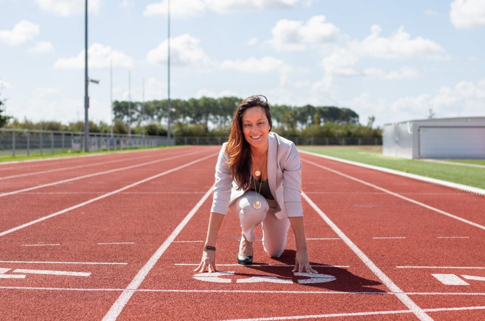 Personal branding shoot op de atletiekbaan